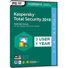 Kaspersky - TOTAL SECURITY - 2018 - Retail Box - 3 PC - Anglais - Clé Bilingue